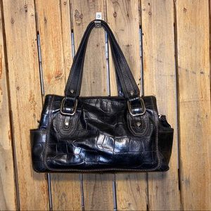 Fossil Black Embossed Leather Satchel